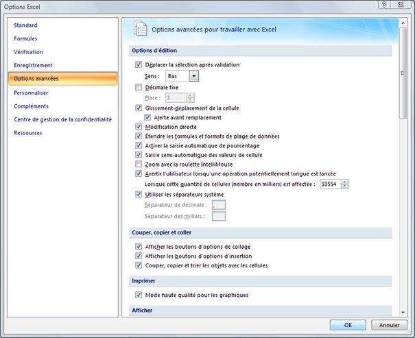 Capture d'écran - Options avancées dans Excel 2007