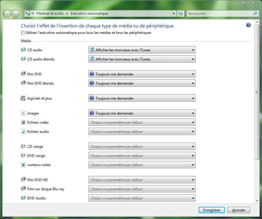 Capture d'écran - Panneau de configuration, configuration de l'exécution automatique