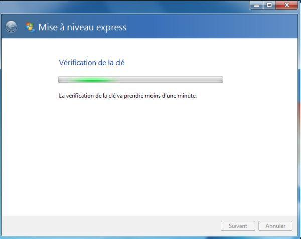 Capture d'écran - Vérification de la clé de série auprès de Microsoft