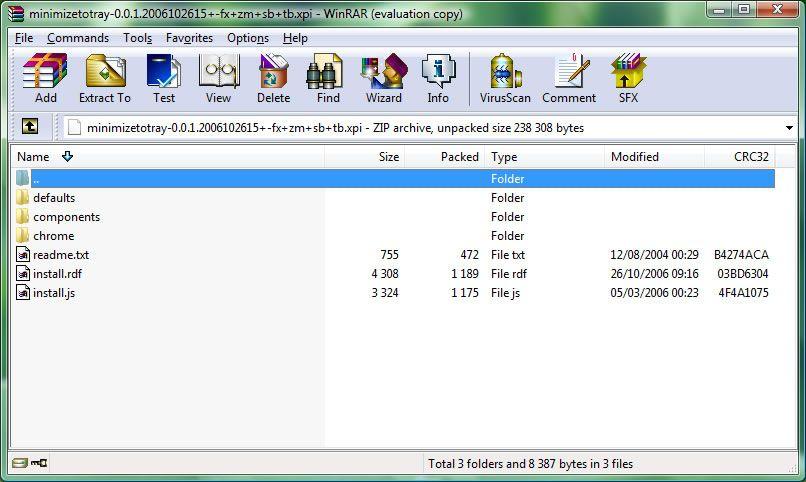 Capture d'écran - Ouverture d'une extension avec WinRAR