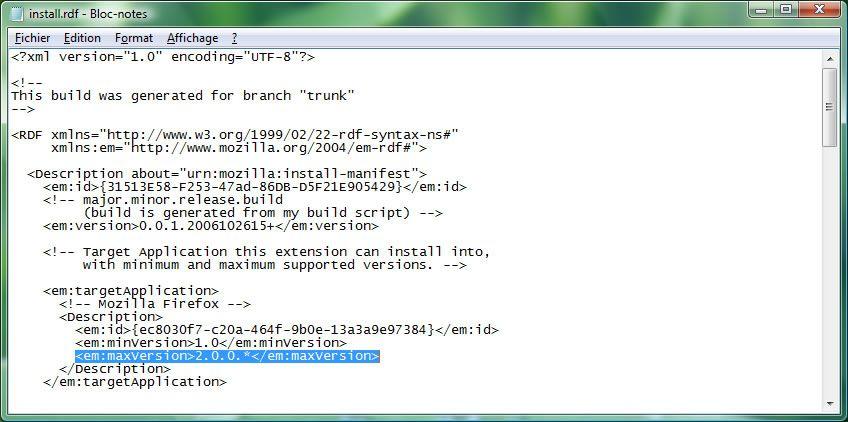 Capture d'écran - Modification d'une extension XPI avec le Bloc-notes