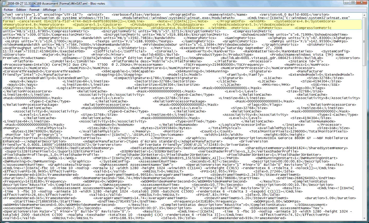 Fichier xml créé par Winsat