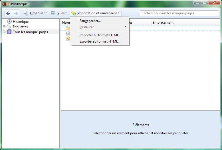 Capture d'écran - Firefox 3, module Bibliothèque