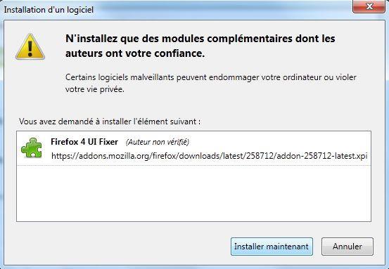 Capture d'écran - Installation de Firefox 4 IU Fixer