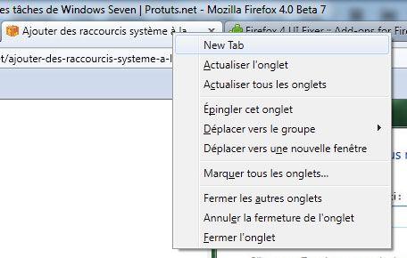 Capture d'écran - Menu contextuel avec la fonction New Tab