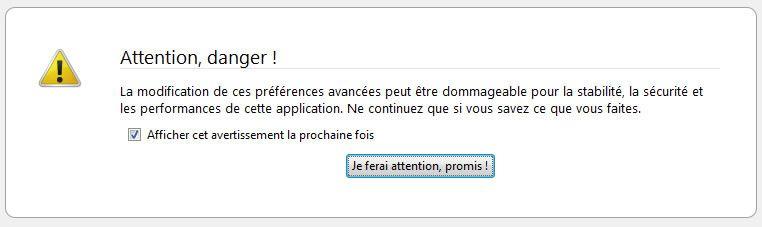 Capture d'écran - Firefox 3, message d'avertissement