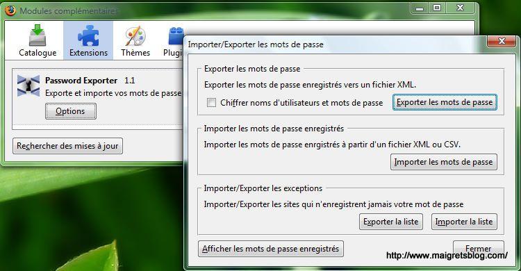 Capture décran - Password Exporter, exportation de votre liste de mots de passe Firefox