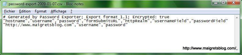 Capture décran - Password Exporter, exemple de fichier généré