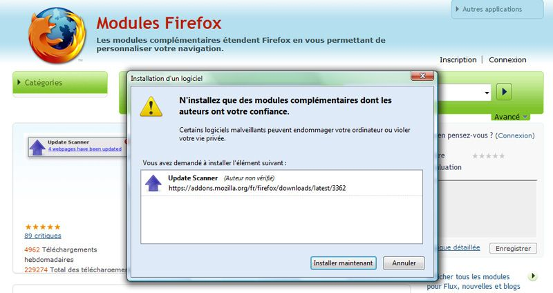 Capture décran - Installation de lextension Update Scanner sous Firefox 3