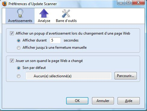 Capture décran - Options dUpdate Scanner