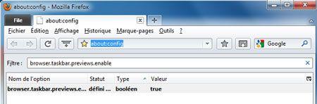 Capture d'écran - Firefox 3.6, activation de la prévisualisation des onglets avec Aero
