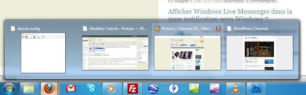 Capture d'écran - Firefox 3.6, Aero Peek et Firefox dans la barre des tâches