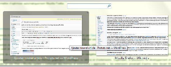Capture d'écran - Mozilla Firefox, liste 3D des onglets
