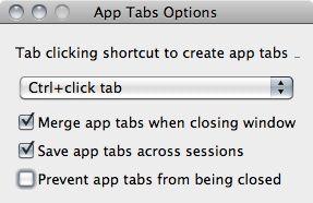 Capture d'écran - Options de personnalisation pour App Tabs
