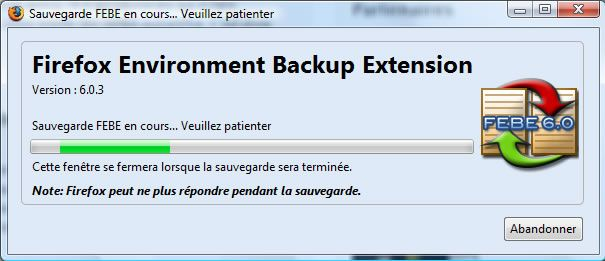 Capture d'écran - Configuration des options de Firefox Environment Backup Extension (FEBE)