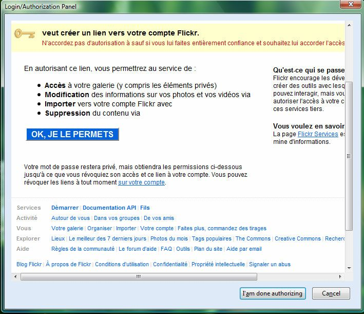Capture décran - Accoder lautorisation à Flickr