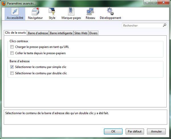 Capture d'écran - gui:config, configuration de Firefox