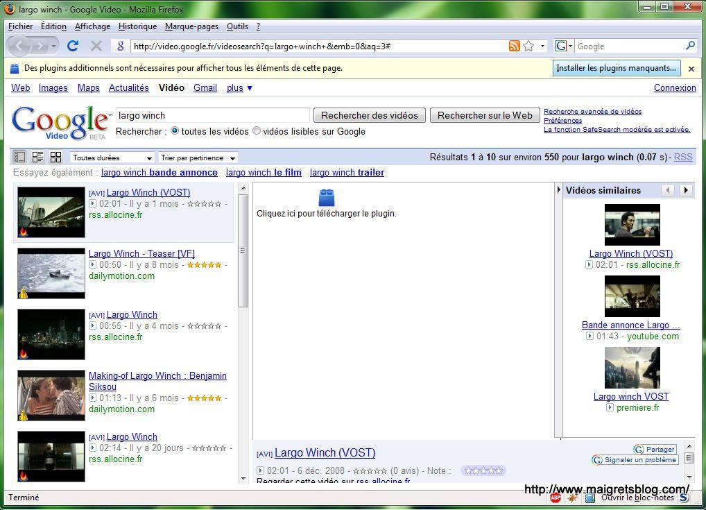 Capture décran - Exemple de problème de lecture de flux vidéo dans Firefox