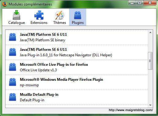 Capture décran - Gestion des plugins dans Firefox