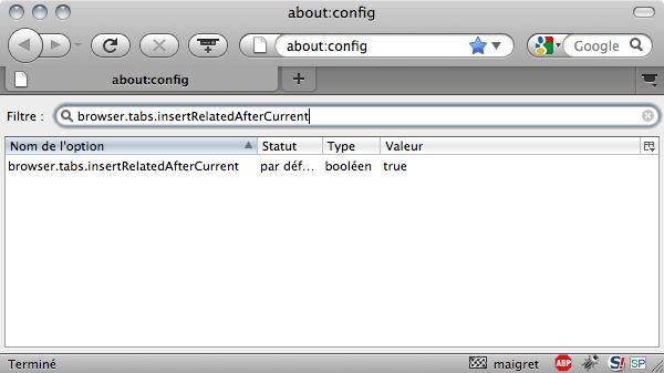 Capture d'écran - Mozilla Firefox, recherche dans about:config
