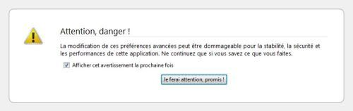 Capture décran - Mozilla Firefox, message davertissement pour laccès à about:config
