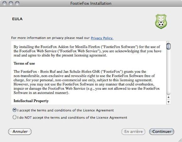 Capture d'écran - FootieFox, configuration