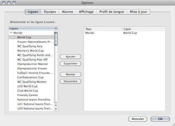 Capture d'écran - FootieFox, choix des compétitions
