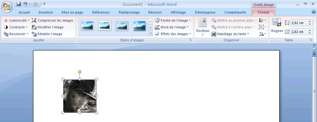 Onglet Format de Word 2007