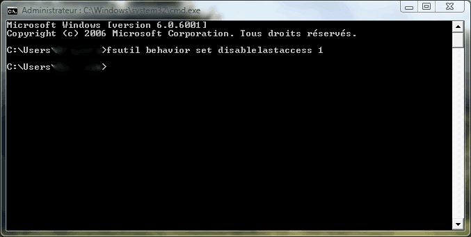 Commande DOS : fsutil behavior set disablelastaccess 1