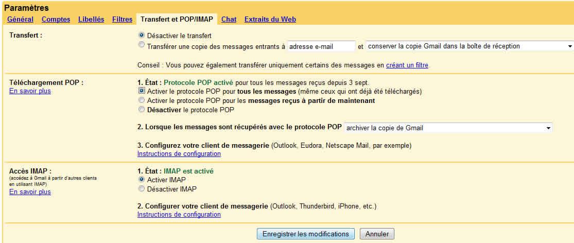 Capture d'écran - Paramétrage du transfert POP/IMAP de votre compte Gmail