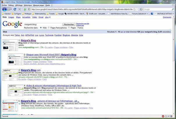 Capture d'écran - GooglePreview à l'oeuvre dans Google