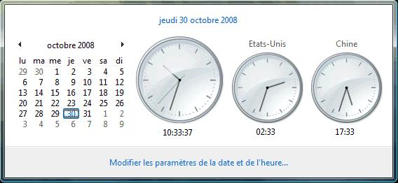 Horloges supplémentaires (vue normale)