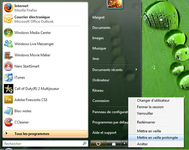 Capture d'écran - Mise en veille prolongée disponible