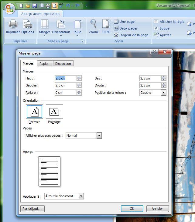 Capture d'écran - Word 2007, options de mise en page