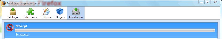 Installation en cours de NoScript