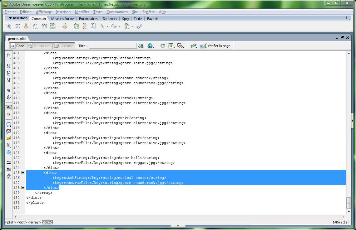 Capture d'écran - Aperçu dans Dreamweaver du fichier genres.plist