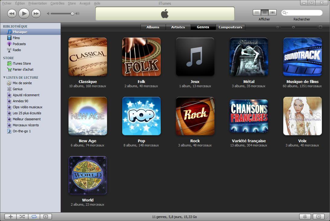 """Capture d'écran - iTunes, aperçu des modifications de jaquettes du genre """"Variété française"""""""