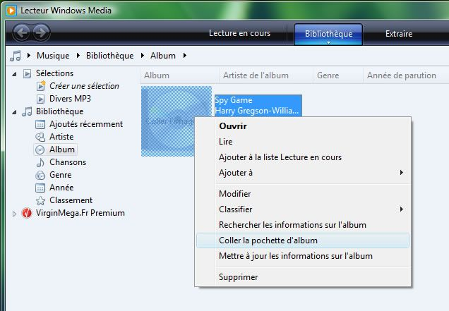Capture d'écran - Copie de jaquette dans Windows Media Player