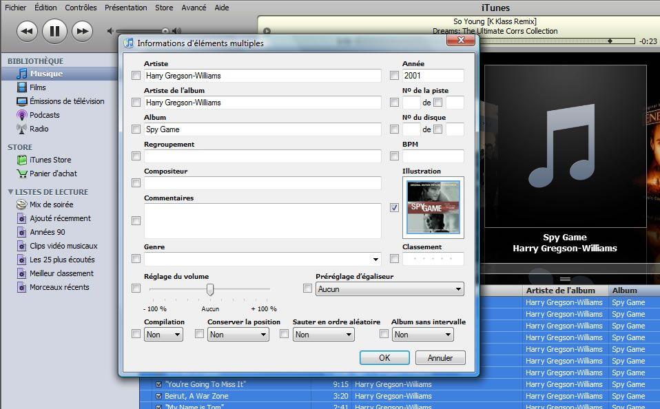 Capture d'écran - Copie de jaquette dans iTunes