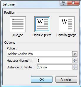 Capture d'écran - Word 2007, utilisation des lettrines