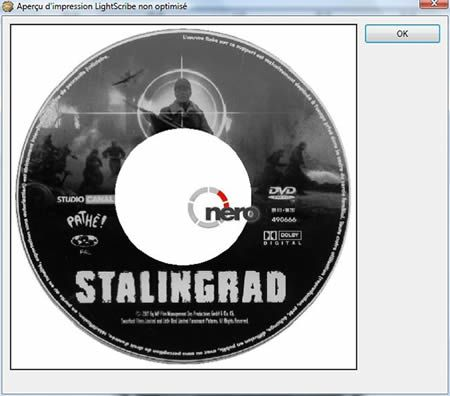 Capture d'écran - Aperçu d'un DVD Lightscribe
