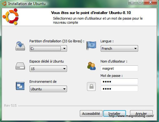 Capture décran - Installation de Ubuntu via Wubi