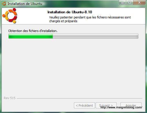 Capture décran - Processus d'installation de Ubuntu via Wubi