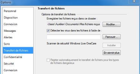 Capture d'écran - Live Messenger, options des transferts de fichiers