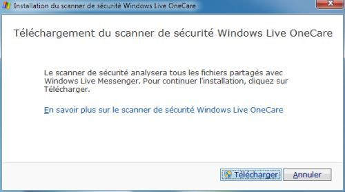 Capture d'écran - Téléchargement de Windows Live OneCare