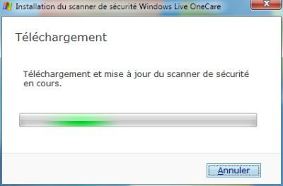 Capture d'écran - Installation de Windows Live OneCare