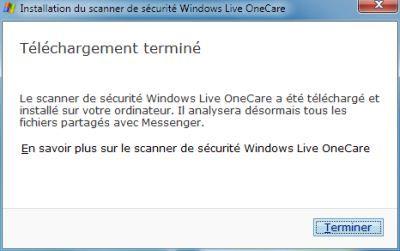 Capture d'écran - Validation de l'installation de Live OneCare