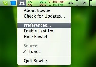 Capture d'écran - Bowtie, menu d'options