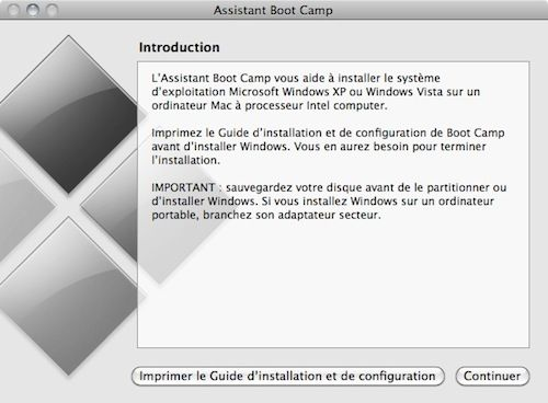 Capture d'écran - Assistant Boot Camp, introduction