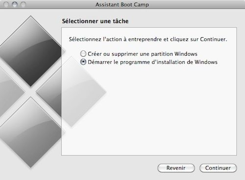 Capture d'écran - Assistant Boot Camp, démarrage du processus d'installation